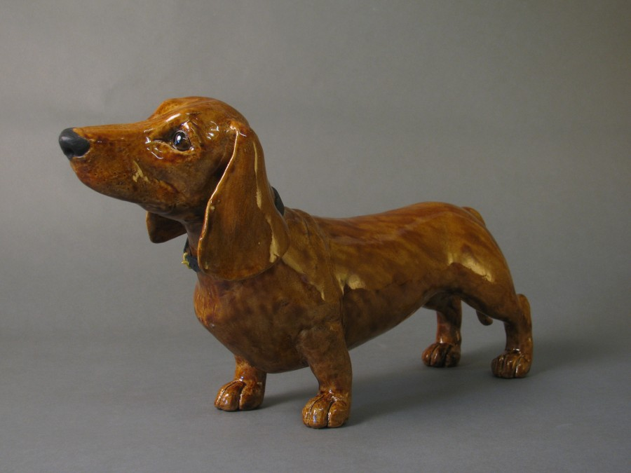 ceramic Dashchund sculpture