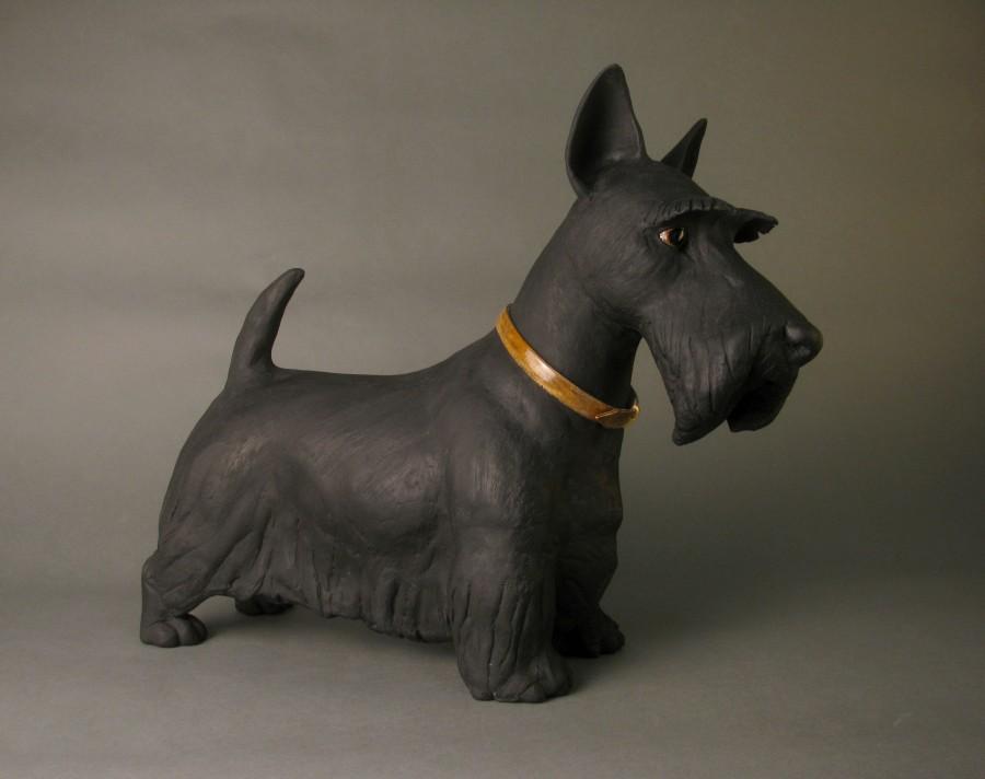 Ceramic Scotty dog sculpture