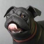 panting pug sculpture