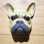 Frenchie sculpture, ceramic