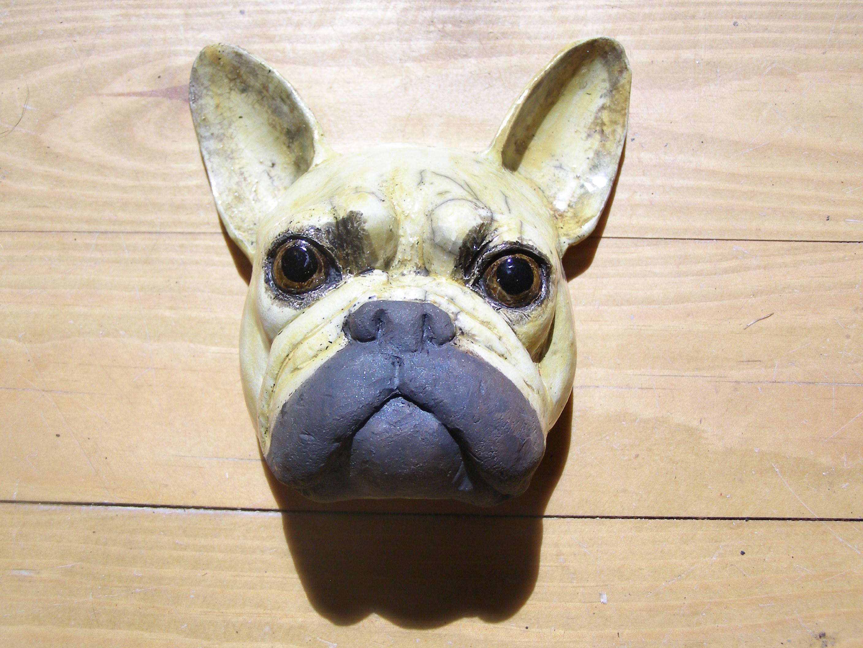 Frenchie sculpture, ceramic